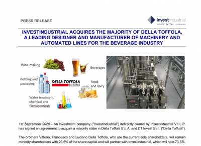 Investindustrial acquires the majority of Della Toffola